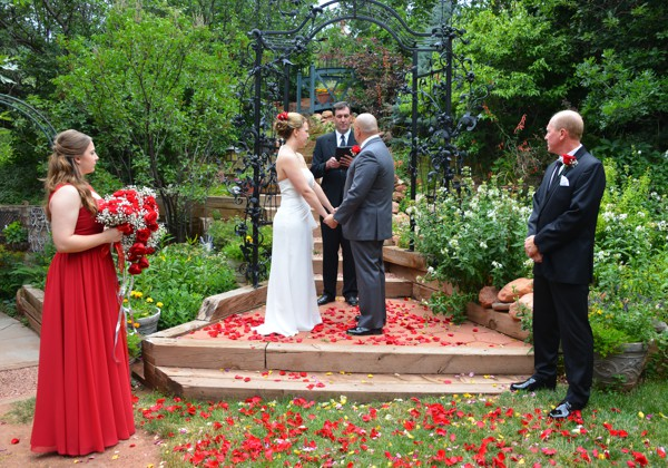 Weddings in The Waterfall Garden at Pikes Peak, Manitou Springs, Colorado