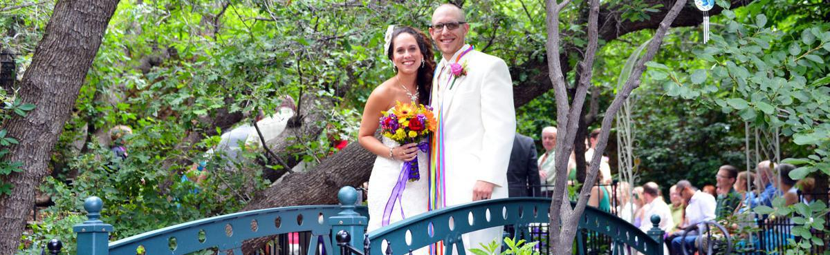 Wedding Ceremony & Honeymoon by Pikes Peak Mountain at Blue Skies Inn in Historic Manitou Springs.